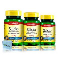 3x Silicio Quelato 60 Capsulas + Porta Capsulas - Maxinutri