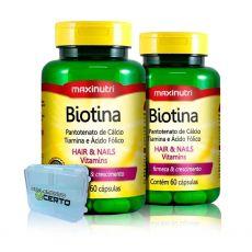 Combo 2x Biotina 60 Caps + Porta Caps - Maxinutri