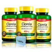 Combo 3x Clorela 400mg 60 Caps + Porta Caps - Maxinutri
