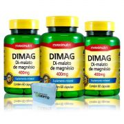 Combo 3x Dimag Di-Malato de Magnesio 60 Caps + Porta Caps - Maxinutri