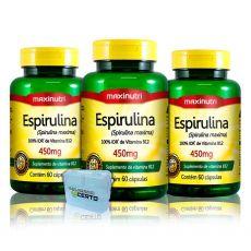 Combo 3x Espirulina 450mg 60 Caps + Porta Caps - Maxinutri
