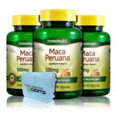 Combo 3x Maca Peruana 500mg 60 Caps + Porta Caps - Maxinutri