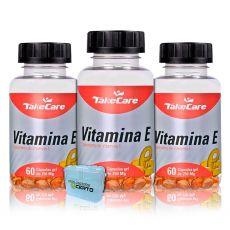 Combo 3x Vitamina E 250mg 60 Caps + Porta Cápsulas - Take Care