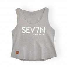 Cropped Fitness Feminino Gelo Mescla - Seven Clothing Muscles