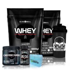 Kit 2x Whey 900g + BCAA 30 Tabletes + Creatina + Coq + Porta Caps - Black Skull