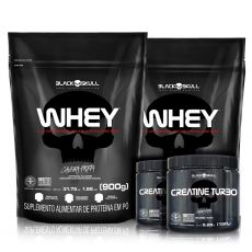 Kit 2x Whey Refil Vietnã (900g) + 2x Creatine Turbo (150g) - Black Skull