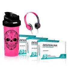 Kit 3x Desodalina 600mg 60 Caps + Fone + Coqueteleira - Sanibras