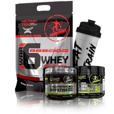 Kit Ganho de Massa Midway - War 6 Protein + Glutamina Defense + Amino Tank Bcaa + Coq Military Trail