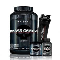 Kit Mass Gainer 1,5kg + BCAA 2400 100 Caps + Creatina 150g + Coq - Black Skull