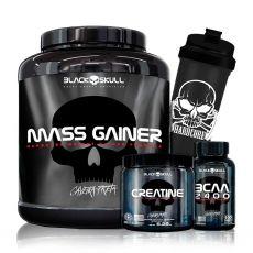 Kit Mass Gainer 3kg + Bcaa 2400 + Creatina Caveira Preta + Coq - Black Skull