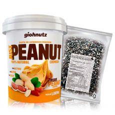 Kit Pasta de Amendoim Cremosa 1kg + Semente de Chia Preta 1kg - Giohnutz/Esverdeando