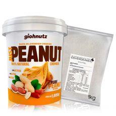 Kit Pasta de Amendoim Cremosa 1kg + Xylitol 1kg - Giohnutz/Esverdeando