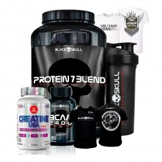 Kit Suplementos Whey Protein Black Skull + Camisetas