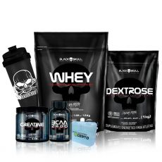 Kit Whey 1,8kg + Bcaa 2400 100 Caps + Creatina + Dextrose + Coq + Porta Caps - Black Skull