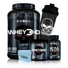 Kit Whey 3 HD 900g + Bcaa 2400 + Creatina Caveira Preta + Coq + Porta Caps - Black Skull