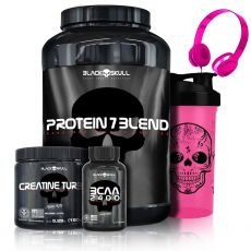 Protein 7 Blend 837g +  Creatine Turbo 150g + BCAA 2400 30 Caps + Fone + Shaker - Black Skull