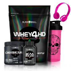 Whey 4HD Refil 837g + Creatina Turbo 150g + BCAA 2400 30 Caps + Fone + Coqueteleira -  Black Skull