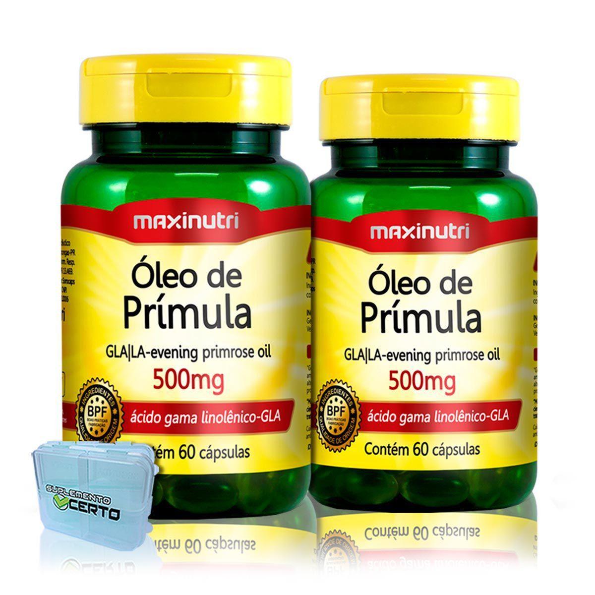 2x Óleo de Primula 500mg 60 Cápsulas + Porta Cápsulas - Maxinutri