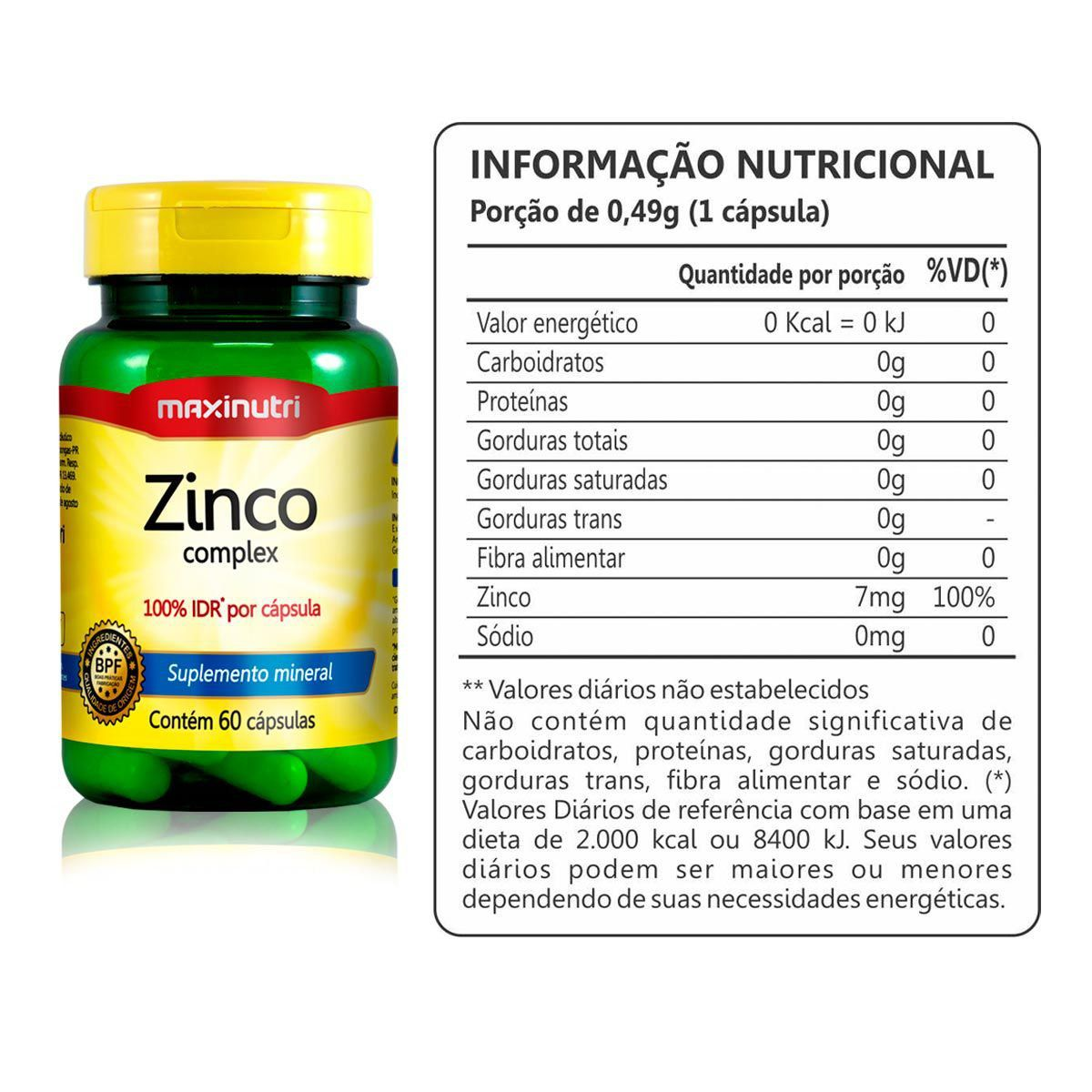 2x Zinco Quelato 60 Capsulas + Porta Cápsulas - Maxinutri