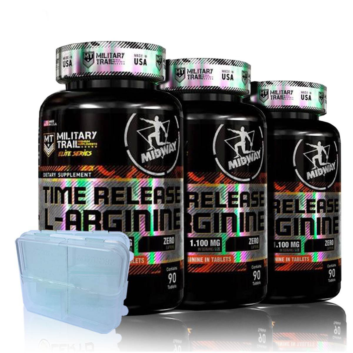 3x Arginine Time Release 90 tabs + Porta Caps - Midway Labs Military Trail