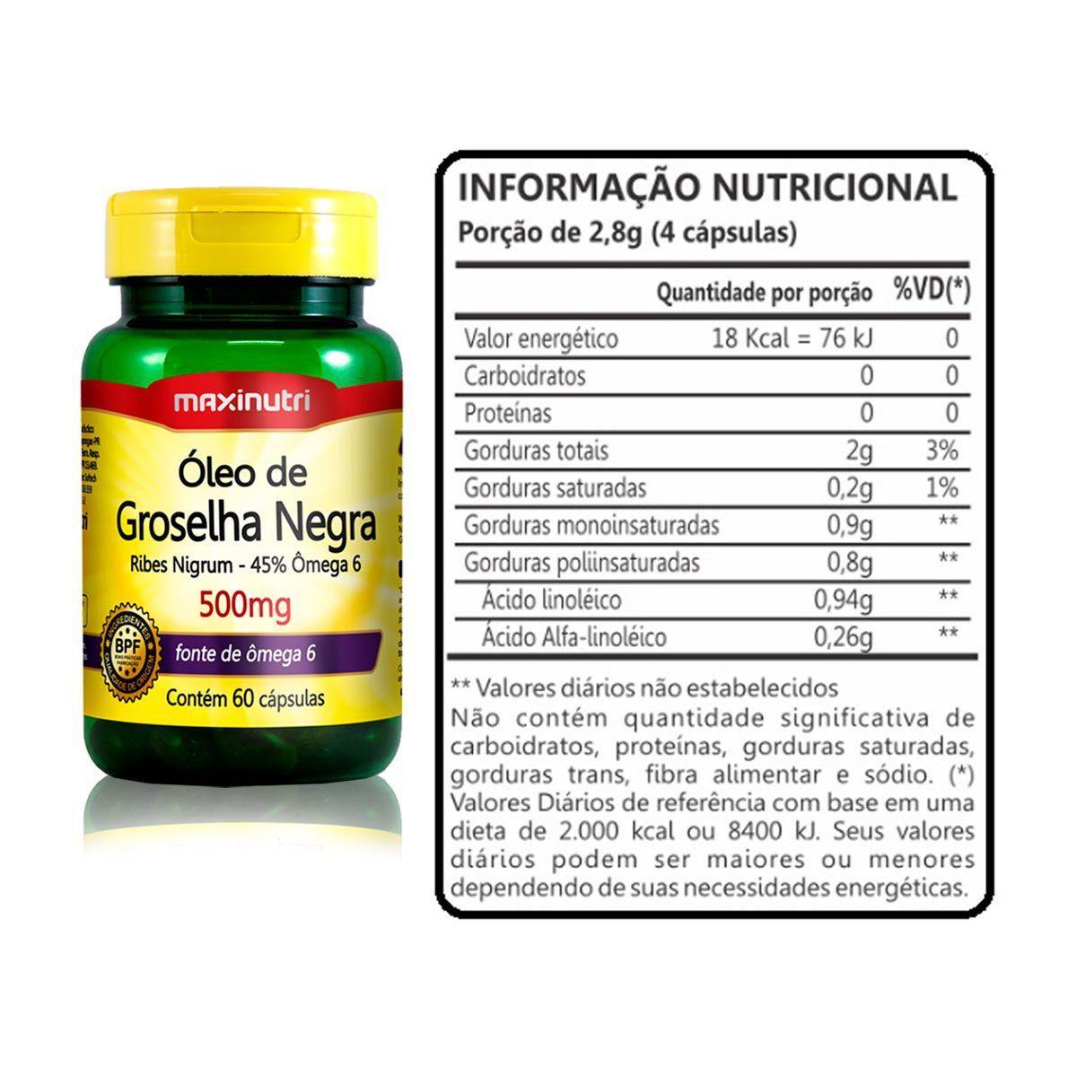 3x Óleo de Groselha Negra 500mg 60 Cápsulas + Porta Cápsulas - Maxinutri