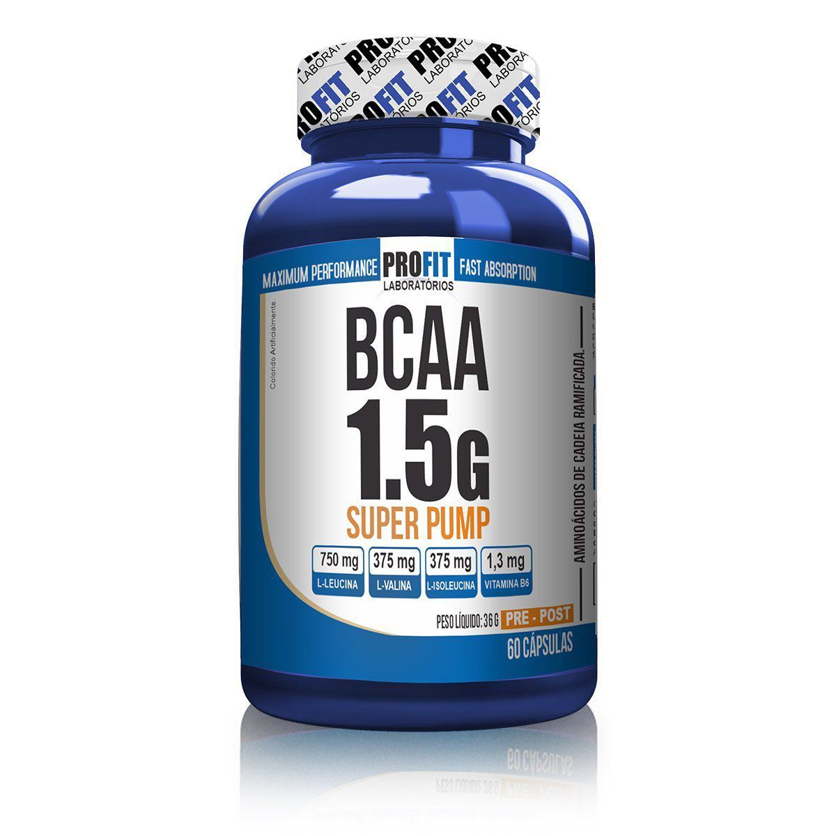 BCAA 1.5g Super Pump 60 Cápsulas Profit