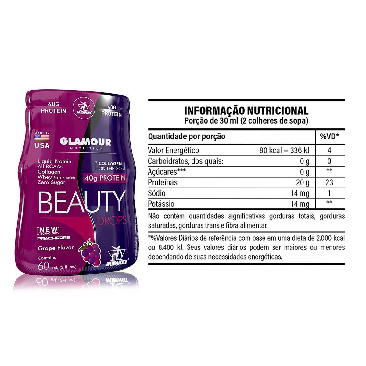 Beauty Drops Protein Glamour Nutrition 40g Un - Midway
