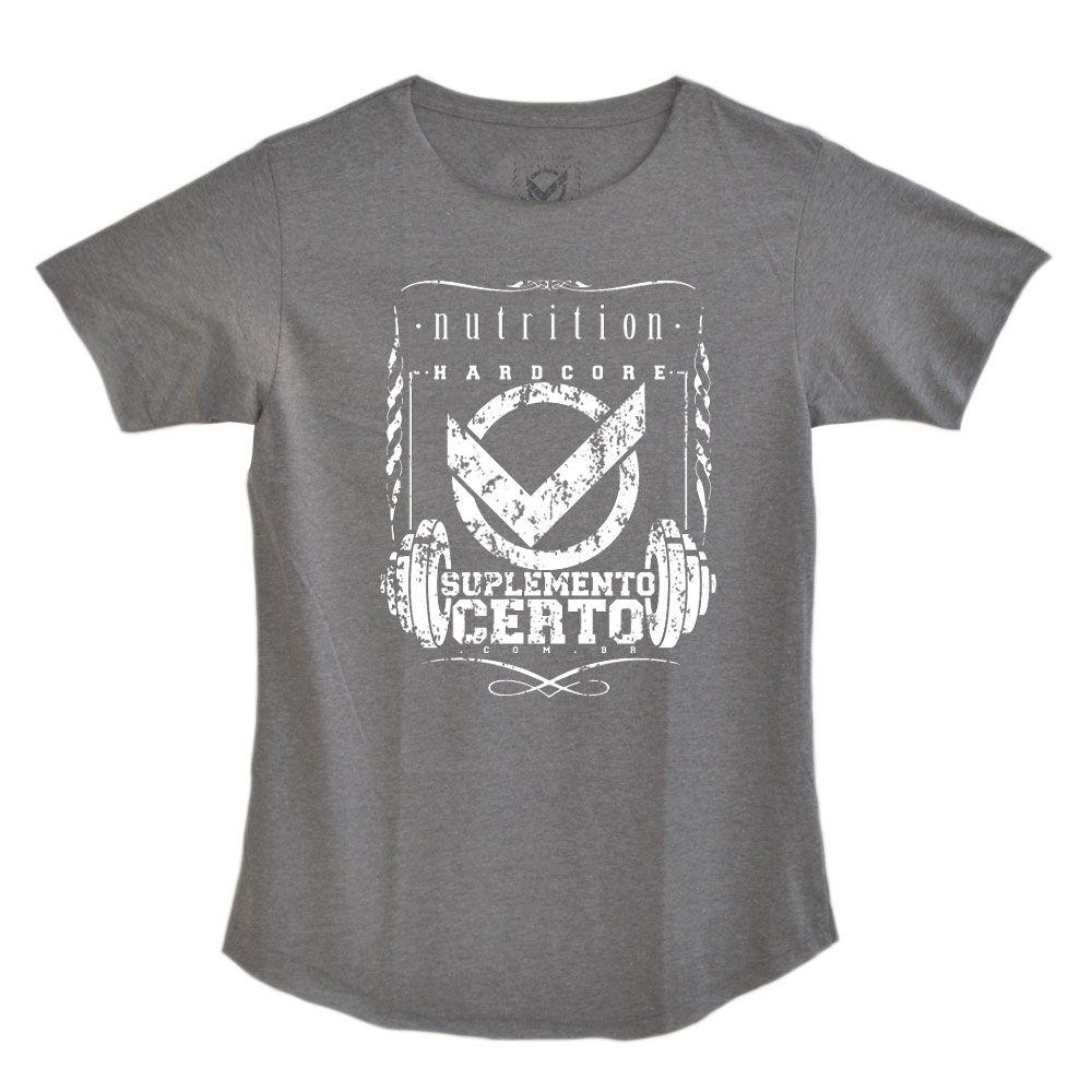 Camiseta Long Hardcore Nutrition Cinza Mescla - Suplemento Certo