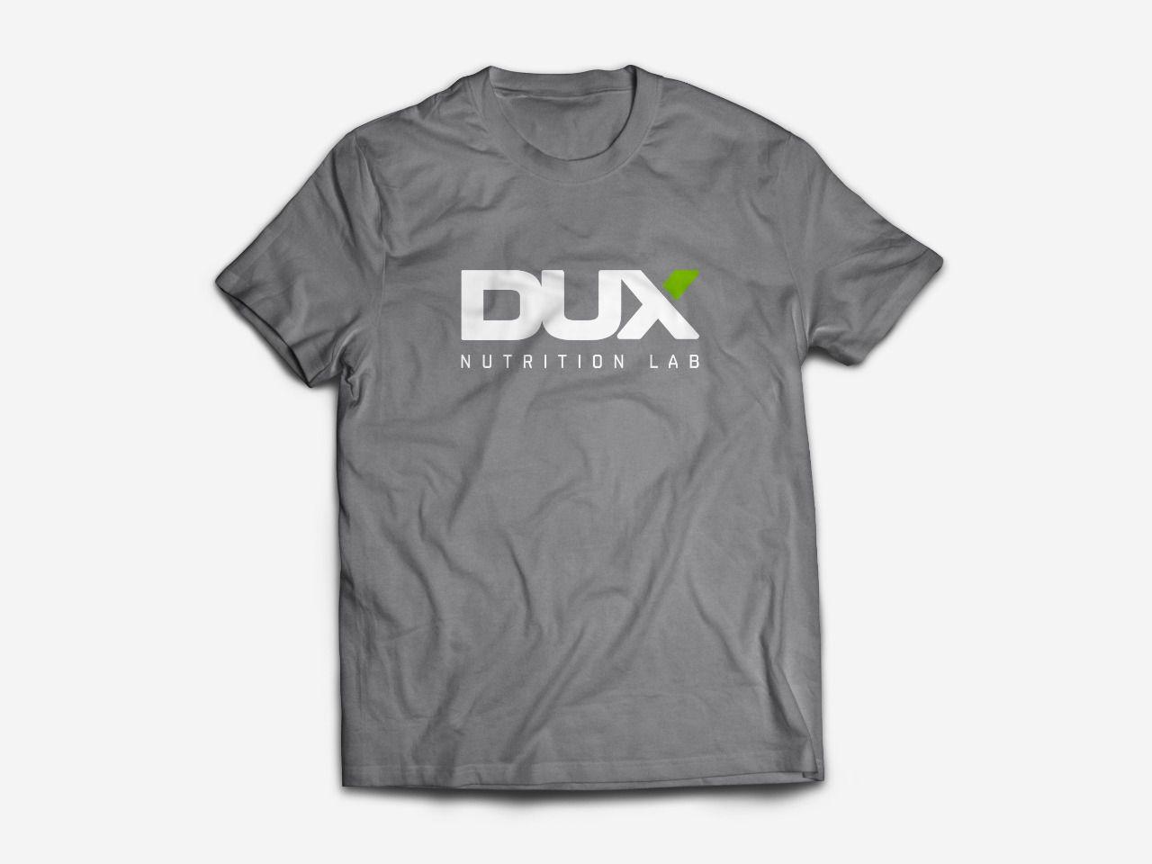 Camiseta Masculina Cinza com logo branco e verde - Dux Nutrition