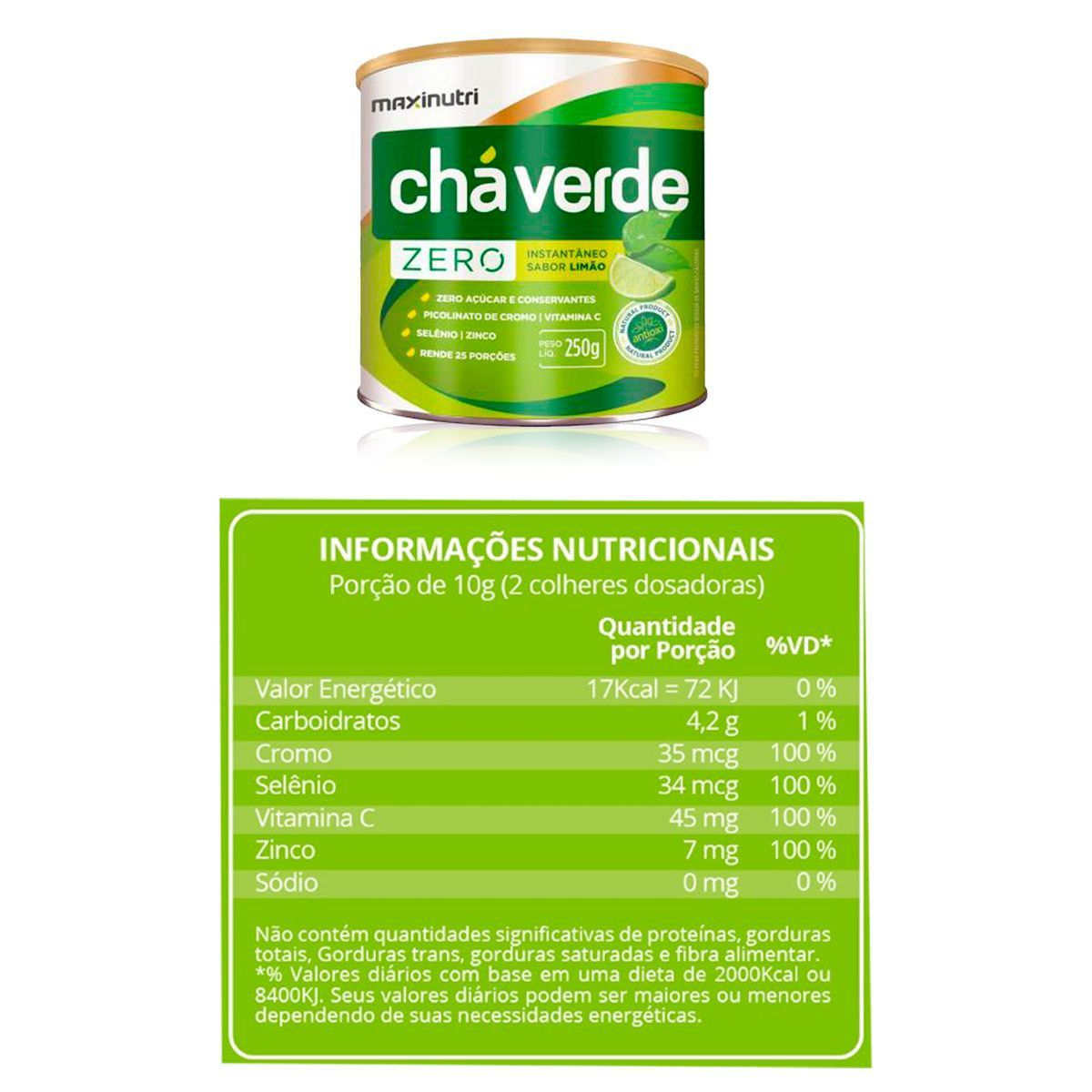 Chá Verde Sóluvel Zero Diurético 250g - Maxinutri