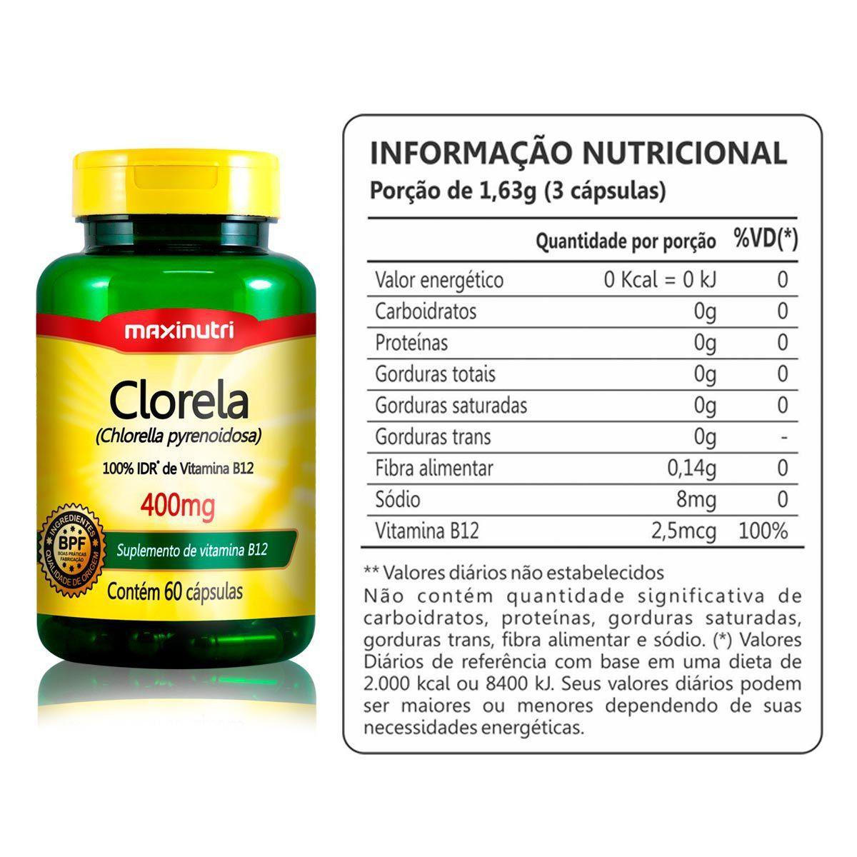 Clorela 400mg 60 Caps - Maxinutri