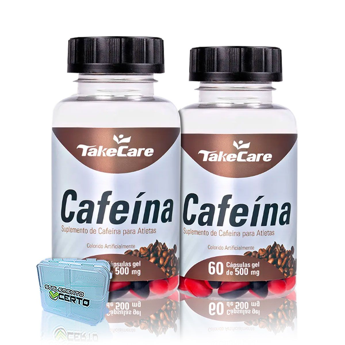 Combo 2x Cafeina 500mg 60 Caps + Porta Caps - Take Care