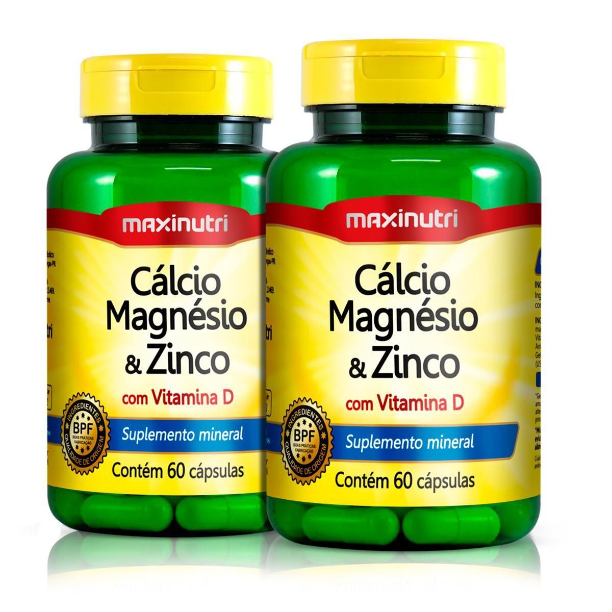 Combo 2x Calcio Magnésio e Zinco 60 Caps - Maxinutri
