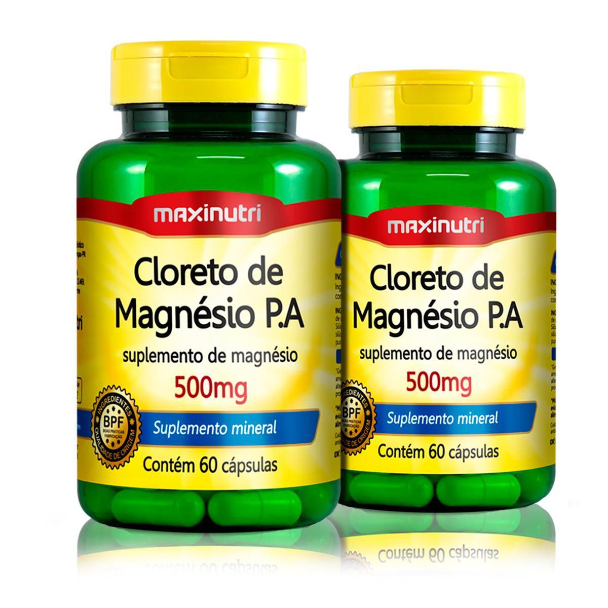 Combo 2x Cloreto de Magnésio P.A 500mg 60 Caps - Maxinutri