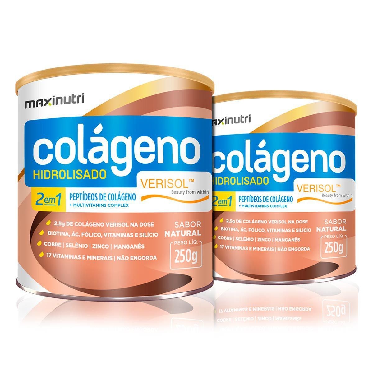 Combo 2x Colágeno Hidrolisado 2 em 1 Verisol 250g - Maxinutri