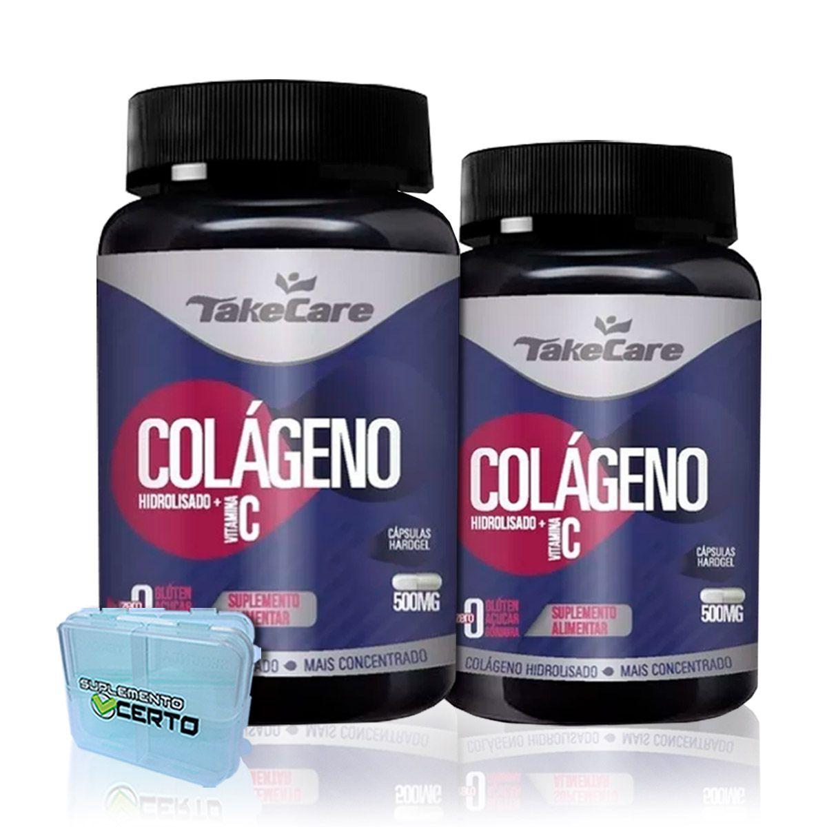 Combo 2x Colágeno Hidrolizado com Vitamina C 500mg 60 Caps + Porta Cápsulas  - Take Care