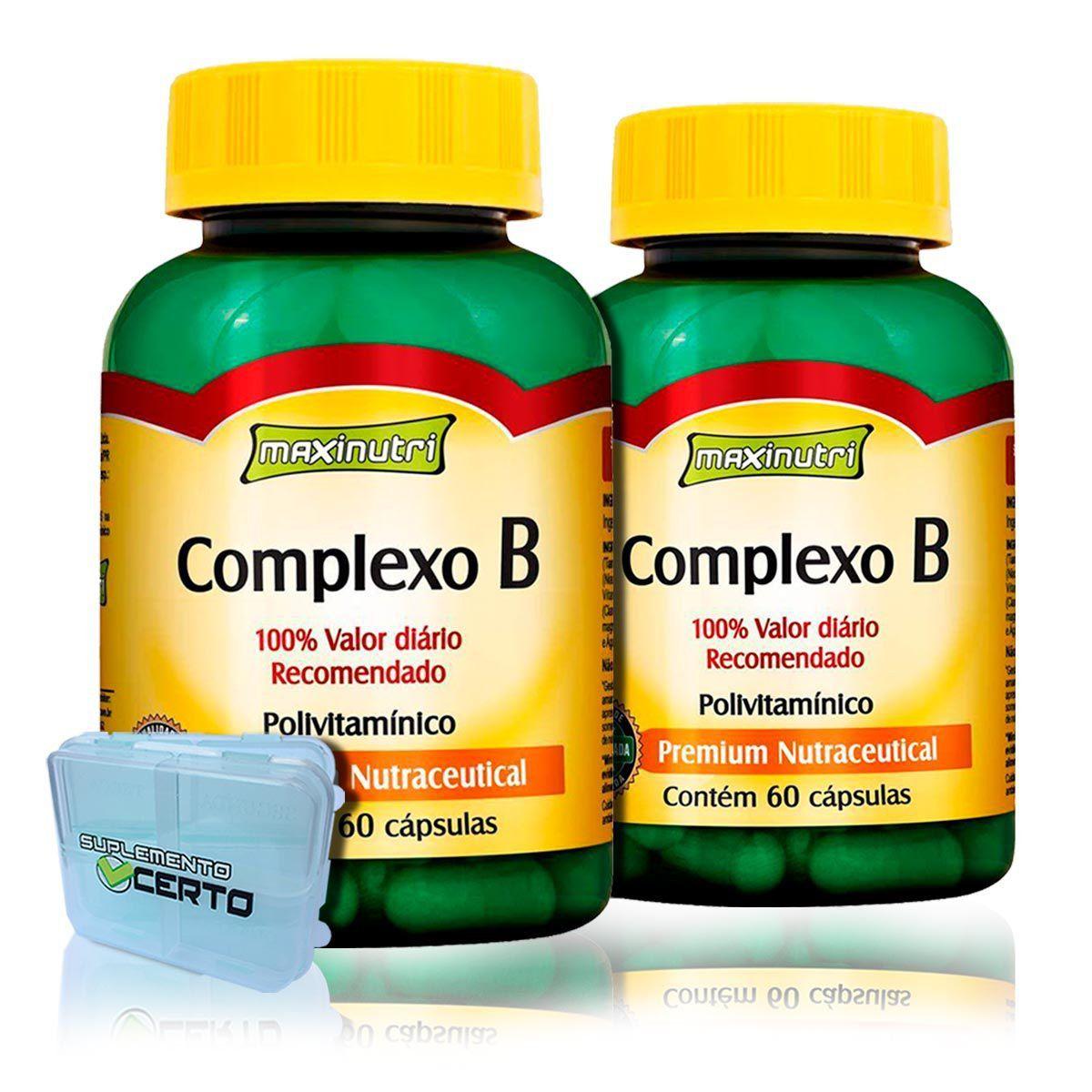 Combo 2x Complexo B 250mg 60 Caps + Porta Caps - Maxinutri