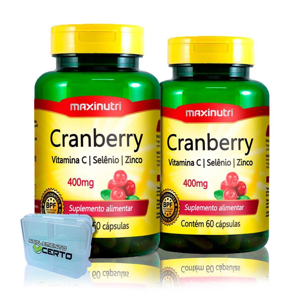 Combo 2x Cranberry Antioxidante com Vitamina C e Zinco + Porta Caps - Maxinutri