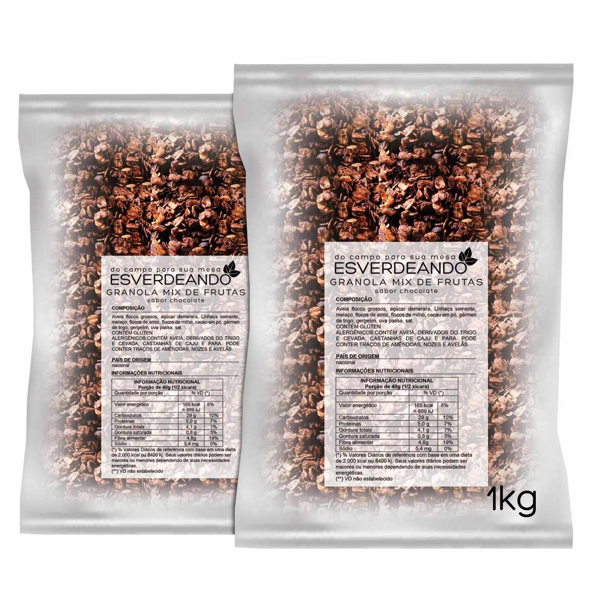Combo 2x Granola de Chocolate 1kg - Esverdeando