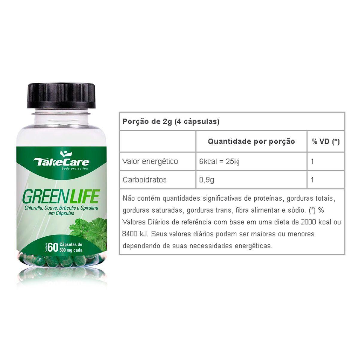 Combo 2x Green Life (Chlorella, Couve, Brocolis e Spirulina) 60 Caps  + Porta Cápsulas - Take Care