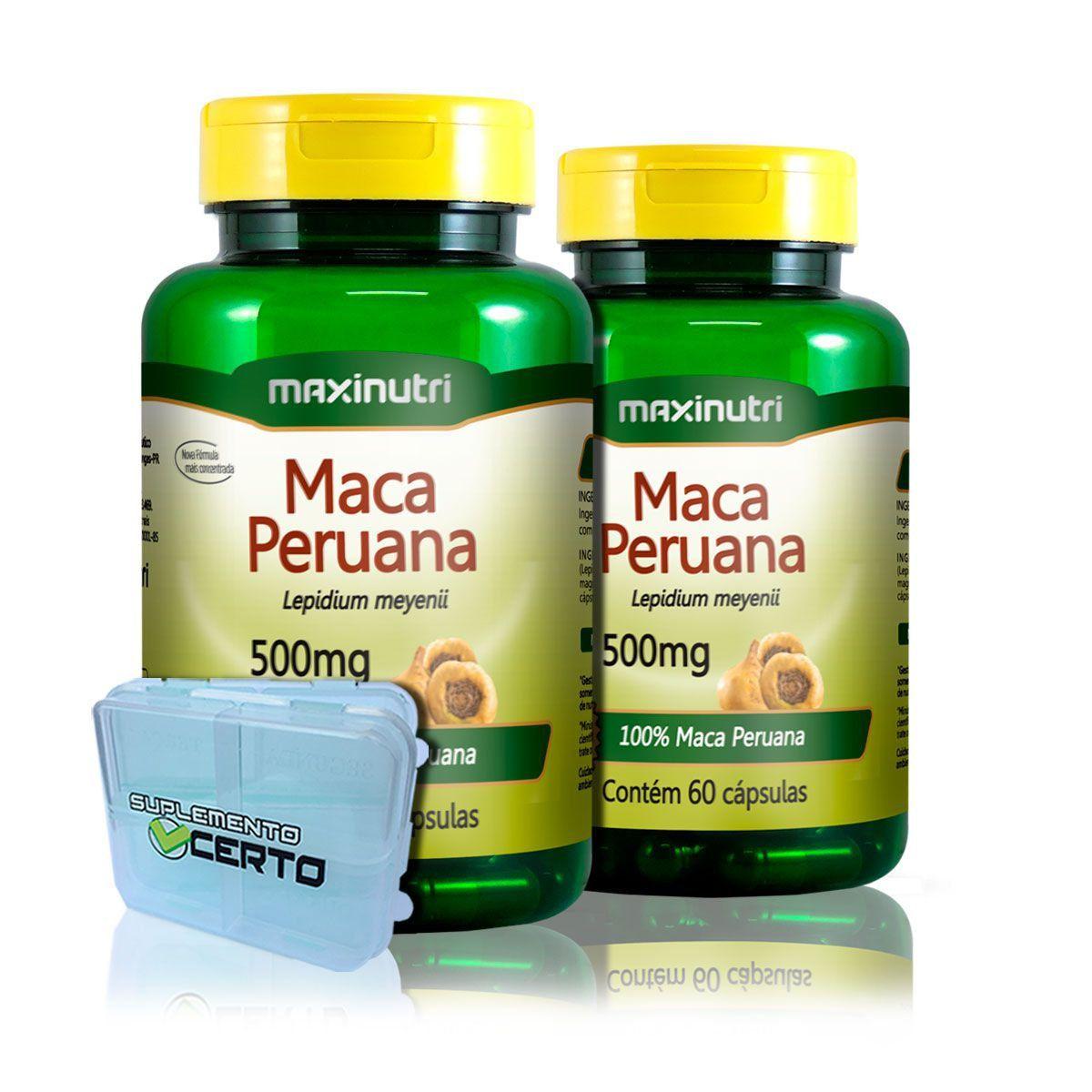 Combo 2x Maca Peruana 500mg 60 Caps + Porta Caps - Maxinutri