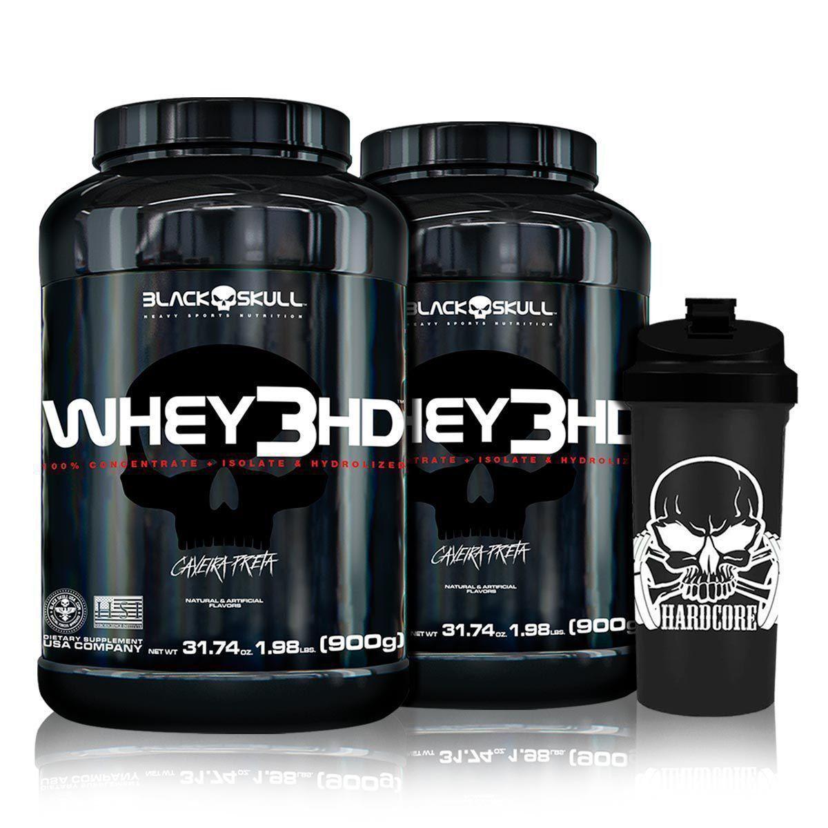 Combo 2x Whey 3HD 900g + Coq - Black Skull