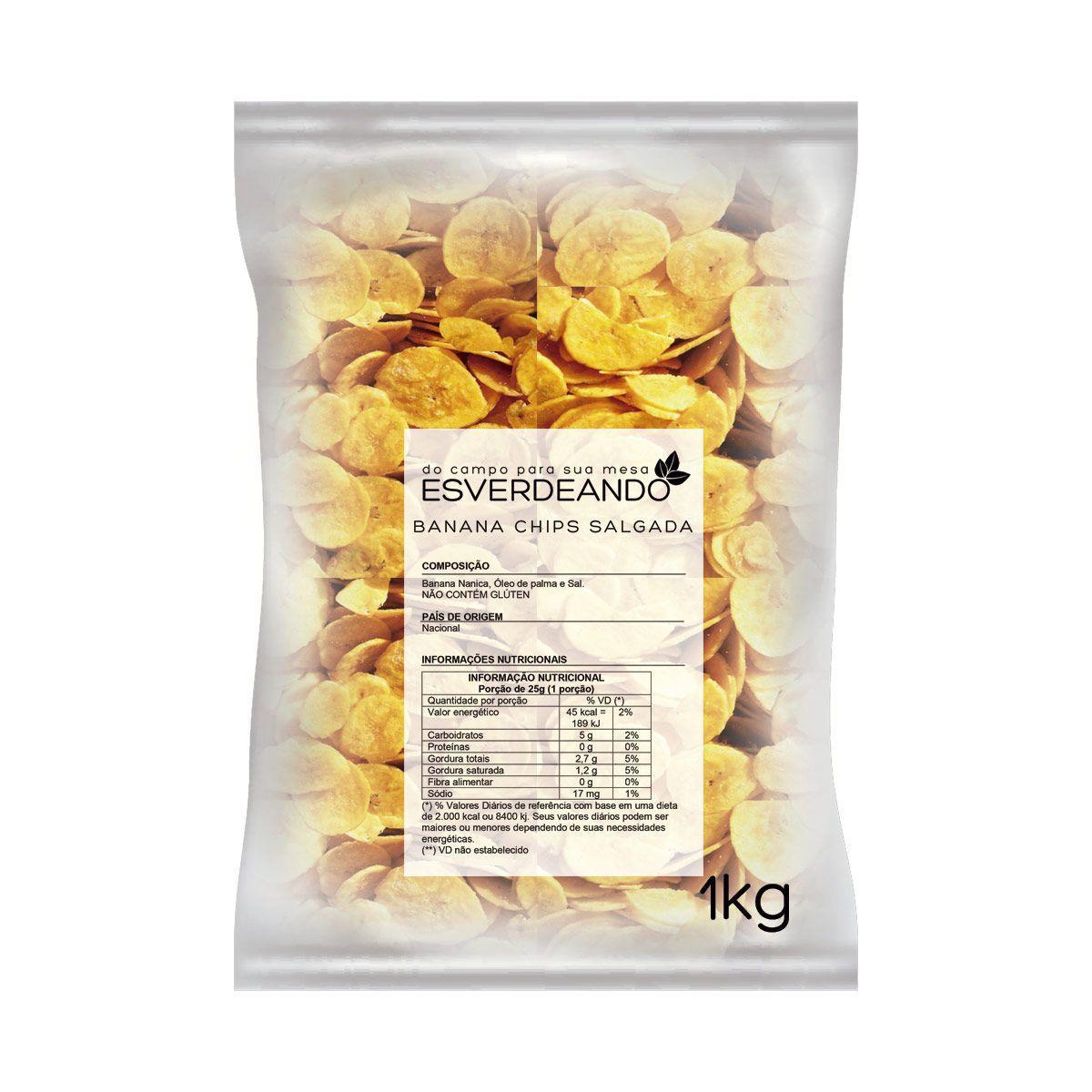 Combo 3x Banana Chips Salgada 1kg - Esverdeando