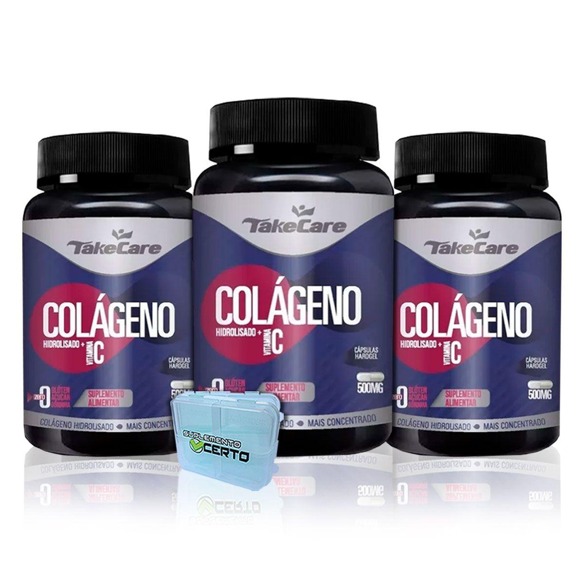 Combo 3x Colágeno Hidrolizado com Vitamina C 500mg 60 Caps + Porta Cápsulas - Take Care