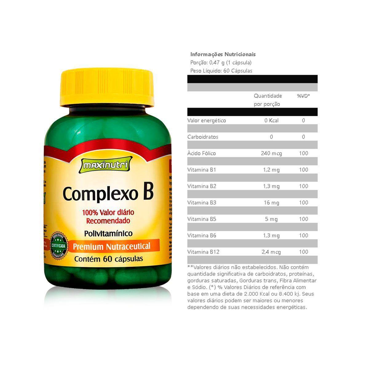 Combo 3x Complexo B 250mg 60 Caps + Porta Caps - Maxinutri