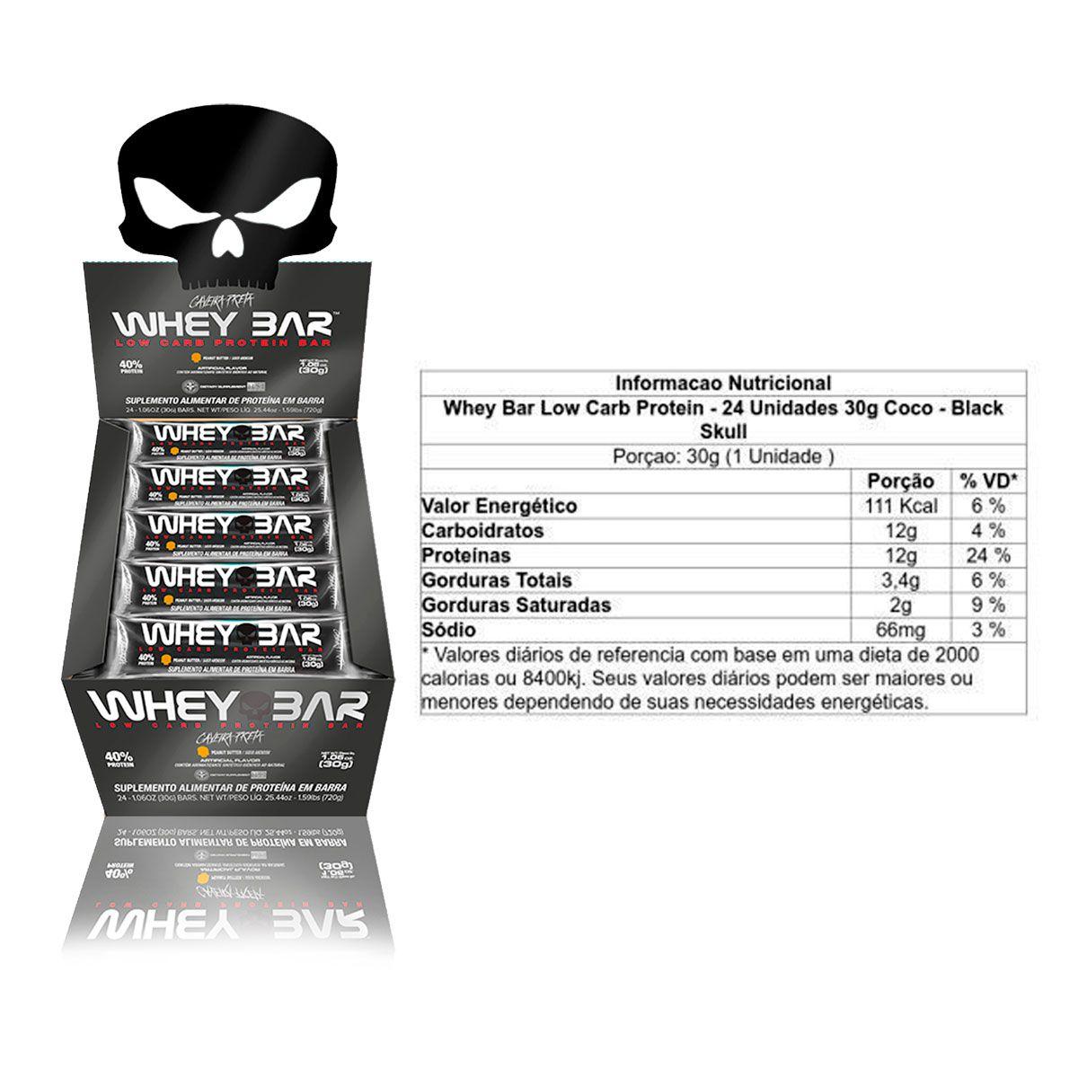 Combo 3x Display com 24 unidades Whey Bar 30g - Black Skull
