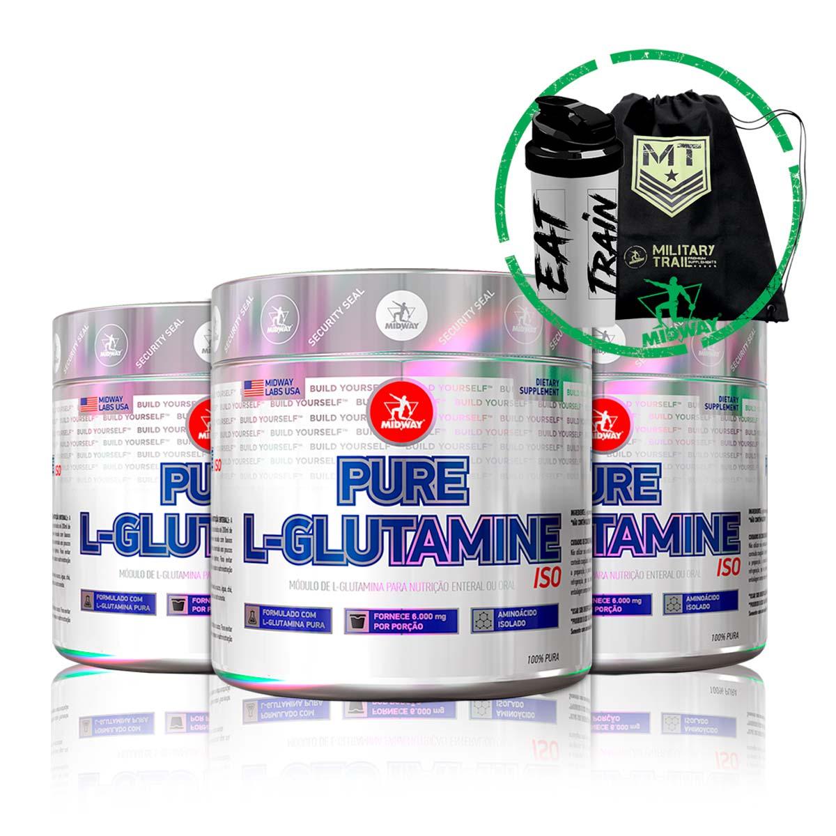 Combo 3x L-Glutamina Powder 100g + Brindes - Midway