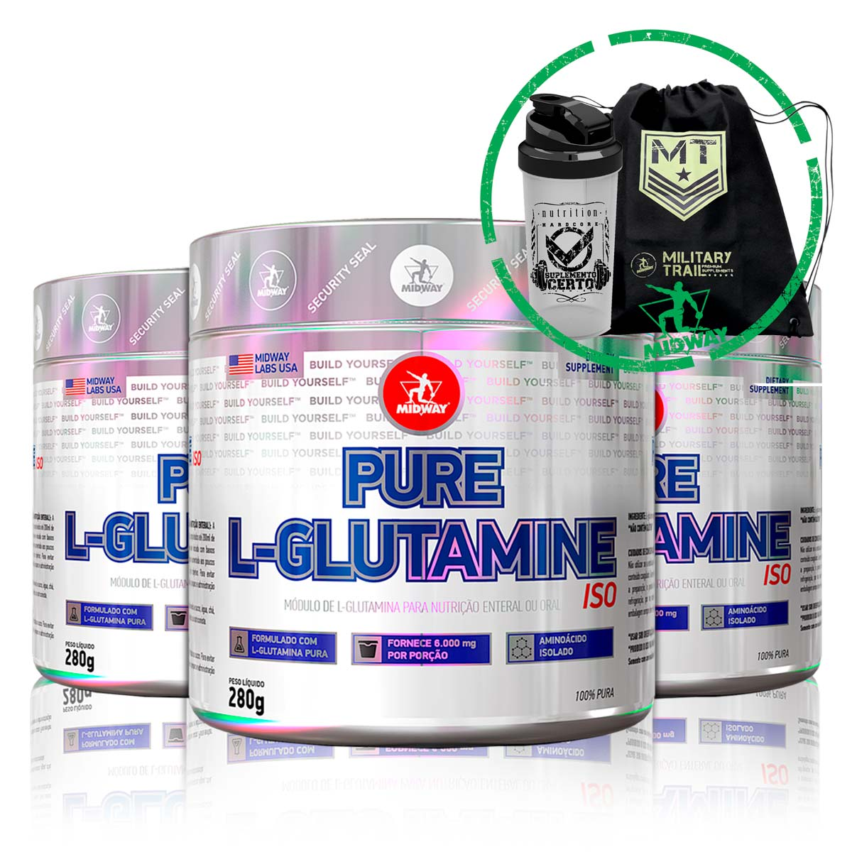 Combo 3x L-Glutamine Powder 280g + Brindes - Midway