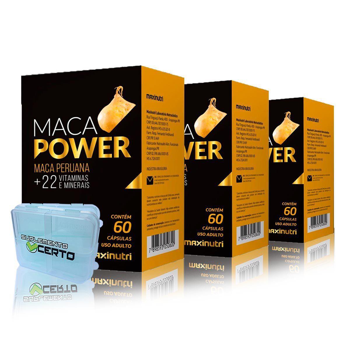 Combo 3x Maca Power 60 Caps + Porta Caps - Maxinutri