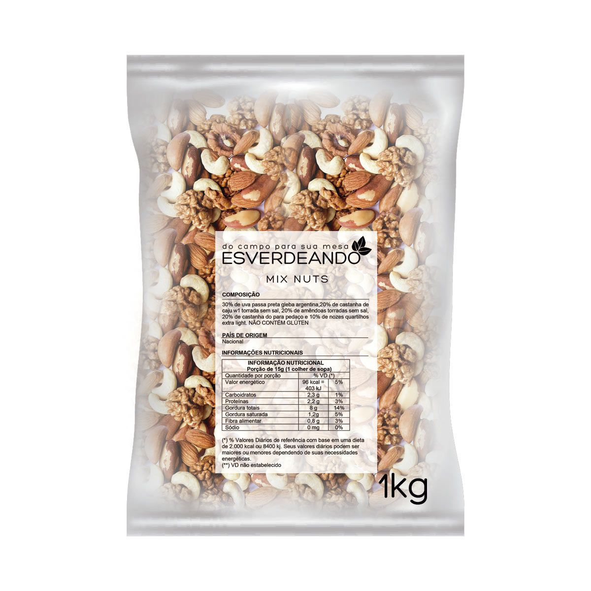 Combo 3x Mix de Nuts 1kg - Esverdeando